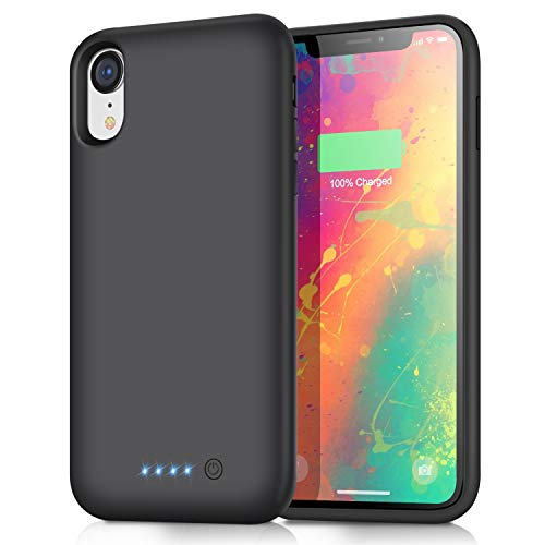 Battery Case for iPhone XR Upgraded【6800mAh】 Portable Rechargeable Charger Case for iPhone XR Extended Battery Pack for iPhone XR Protective Charging Case Backup Cover(6.1 inch) - Black