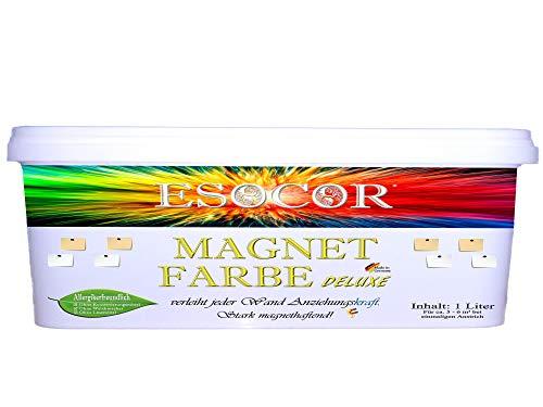 1 Liter ESOCOR MAGNETFARBE DELUXE + 1 Pin Magnet – sehr allergikerfreundlich – stark magnethaftend – Ideal für Innen- und Aussenflächen