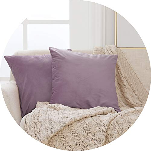 Deconovo Velvet Cushion Covers Throw Pillow Cases Throw Cushion Protectors for Sofa with Invisible Zipper Lilac 65cm x 65cm 26x26 Inches Set of 2
