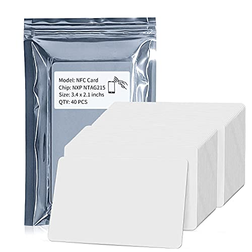 40pcs NTAG215 NFC Cards,Blank PVC ISO NFC 215 Card 504 Bytes Programmable,Same Size As Credit Card,Work with TagMo and Amiibo for All NFC-Enabled Smartphones and Devices