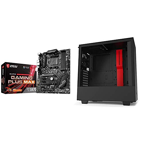 MSI Performance Gaming AMD X470 Ryzen 2ND and 3rd Gen AM4 DDR4 DVI HDMI Onboard Graphics CFX ATX Motherboard & NZXT H510 - CA-H510B-BR - Compact ATX Mid-Tower PC Gaming Case - Black/Red