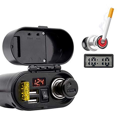 Folconauto 3.1A Motorrad Dual USB Ladegerät, 12V/24V Wasserdichter Zigarettenanzünder mit LED Voltmeter,Elektronischer Zeitschaltuhr und EIN/AUS Taste für Motorrad ATV UTV Roller