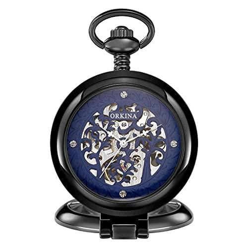 Reloj de bolsillo elegante clásico.Reloj de bolsillo Vintage Clásico Classic Flap Romano tallado a cielo abierto Tabla de pared mecánica - Aniversario de cumpleaños Día de la boda Día del padre Reloj