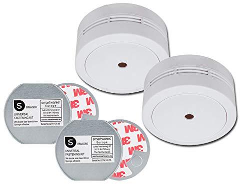 Mini Rauchmelder im Doppelpack mit 10 Jahres Batterie – DIN EN 14604 - VdS Zertifiziert - mit praktischer EASY & CLEAN Magnetmontage