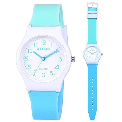Zeiger - Reloj deportivo para niñas y niños, con correa de resina