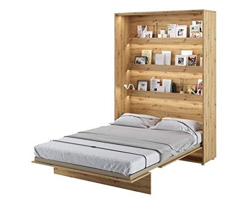 Schrankbett Bed Concept, Wandklappbett mit Lattenrost, V-Bett, Wandbett Bettschrank Schrank mit integriertem Klappbett Funktionsbett (BC-01, 140 x 200 cm, Artisan Eiche, Vertical)