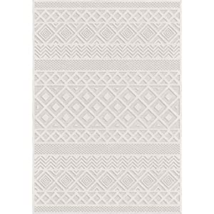 "Orian Rugs Boucle Collection Indoor/Outdoor High-Low Coastal Diamond Runner Rug, 1'11"" x 7'6″, Natural Ivory"