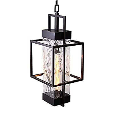 MOTINI 1-Light Outdoor Pendant Lighting Industrial Style Large Single Pendant Geometric Chain Hung with Water Glass 26.5x10x10 Inch, ORB Finish (Bulb Included)