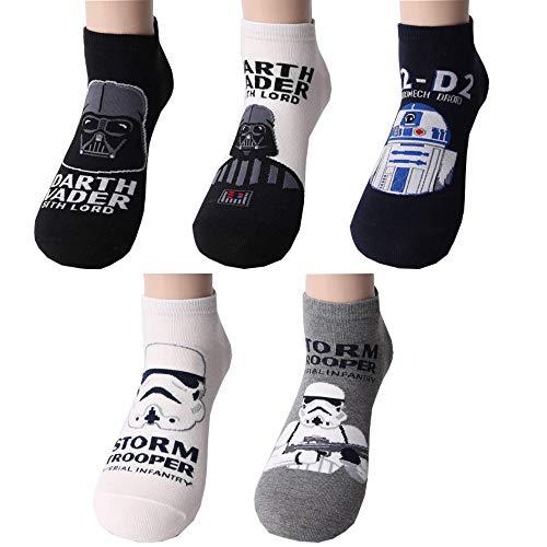 Krieg der Sterne Herren Sneakersocken 5 Paaren - Darth Vader, R2-D2, Sturmtruppler Knöchel Socken