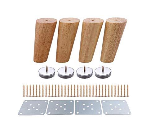 XINHU 4 Unids 100 Mm Altura Muebles De Madera Piernas Oblicuas Tapered Sofá Sofá Sofá Pies Cojón Cómoda Sillón Foot Oak Wood More Regalo (Color : B Sets)