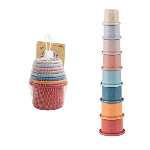 BAHER Mini 8 Piezas de Juguetes de Taza de Apilamiento Tazas de Apilamiento de Reloj de Arena Educativo Juguete de Baño para Bebés Y Juguete de Construcción Libre de BPA para 1 2 3 4 5
