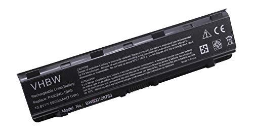 vhbw Batterie Compatible avec Toshiba Satellite P850, P850D, P855, P855D, P870, P870D, P875, P875D, S800 Laptop (6600mAh, 10.8V, Li-ION, Noir)