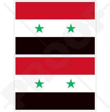 SYRIEN Syrisch Arabische Republik Flagge, Fahne ARABISCH 75mm Auto & Motorrad Aufkleber, x2 Vinyl Stickers