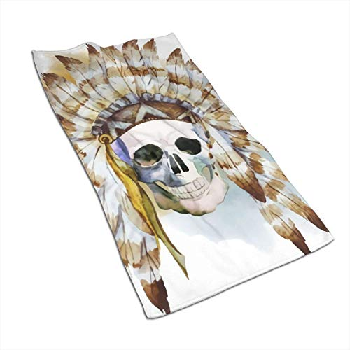 QHMY Native Skull Microfiber Serviettes 27.5 X 15.7 in Bath Bathroom, Beach Travel Towel for Pool Bath Spa Fitness Swim Camping Outdoors Home Etc for Daily Needs