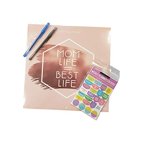 Mom Life = Best Life Calendar Bundle with 575 Weekly Planner Stickers and Two Pens – 4 Items