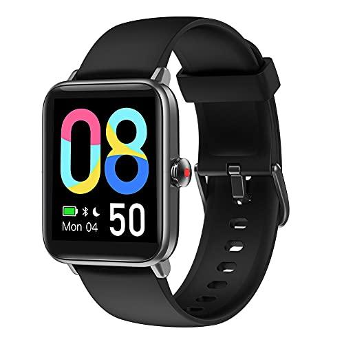 Smartwatch Donna Uomo,smartwatch Orologio Fitness Contapassi Cardiofrequenzimetro, Sfondo Personalizzato, Modalità Nuoto, Gestire la Musica, GPS Condiviso, Meteo (Black)