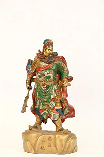 Hong Yi Fei-Shop Guan Yu Estatua 34 cm Bronce Chapado en Oro Pintado de Plata guan Gong Samurai Guerrero Dios Riqueza Metal Estatua Feng Shui Decoracin