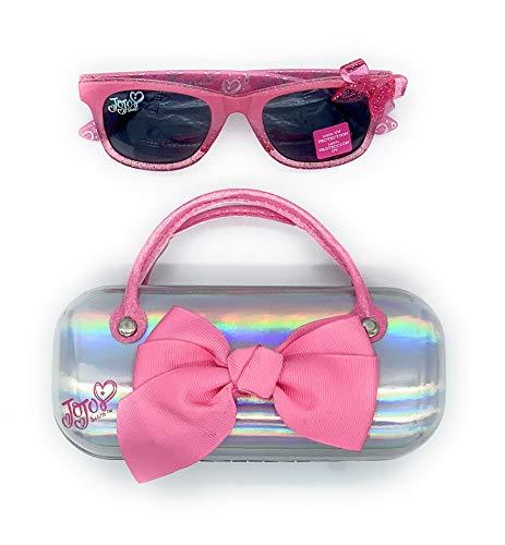 Jojo Siwa Girl's Wayfarer Style Sunglasses and Handled Hard Case Set, Pink/Silver