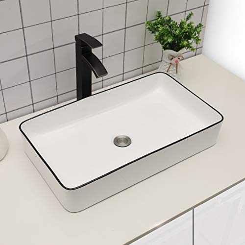 "Vessel Sink Rectangular - Sarlai 24""x14"" Modern Bathroom Sink Rectangle Vessel Sink White Porcelain Ceramic Sink Basin with Black Edge"