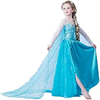 Frozen Essar Princess long dress child girls long sleeve mesh dress- color