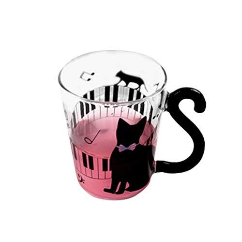 ukYukiko - Taza de cristal con diseño de gato y gatito