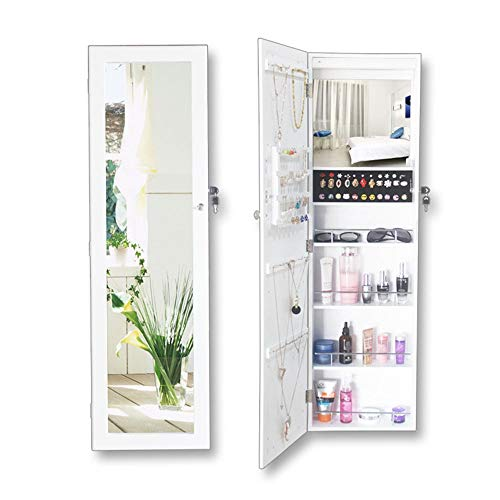 Mirror Makeup Armoire Space Saving Lockable Jewellery Cabinet Wardrobe With Mirror Wall Hanging Jewelry Store Organizer White (Color : White, Size : One size)