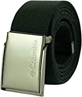 Columbia Men's Military Web Belt - Casual for Jeans Pants Adjustable One sizee Cotton Metal Plaque Buckle,black, 1sizee