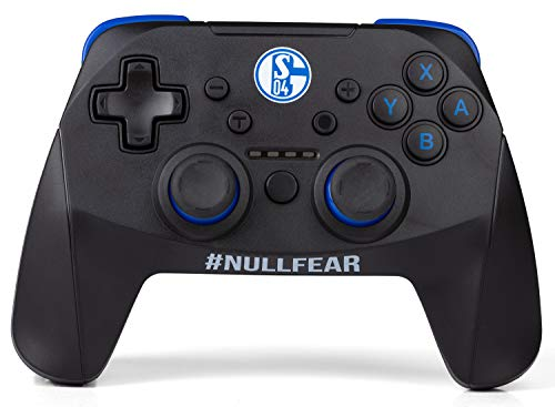snakebyte S04 Wireless Pro Controller (SWITCH) - Offiziell lizenzierter FC Schalke 04 Bluetooth Gamepad für Nintendo Switch, Lite / Analoge Dual Joysticks / Capture-Button / Turbo-Funktion / Akku
