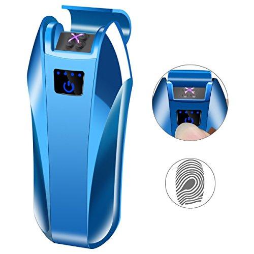 LINGAN Mechero Electrónico Doble Arco USB Encendedor Doble Arco Eléctrico Plasma Recargable Inflamable Resistente al Viento Interruptor Táctil Encendedor para Cigar Cigarrillo Vela Pipe