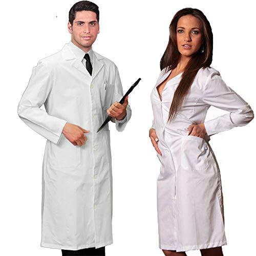 Cura Farma Camice Bianco Donna Uomo per Medico, Farmacista da Lavoro Laboratorio in Cotone – Originale (Donna 48 XL)