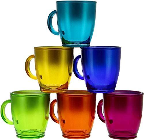 WAK 6er Set Kaffeebecher 380ml mit Henkel n tollen Farben für Ihr liebstes Heißgetränk für Kaffee, Cappuccino und Latte Macchiato (Bunt)