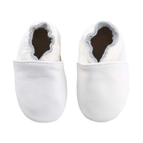 First Walker Leather Baby Shoes with Soft Soles Toddler Moccasins (5.5 M US Toddler, White)
