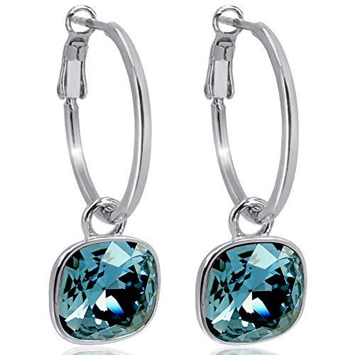 Silber-Creolen 925 Sterling Silver Anhänger mit Swarovski® Kristallen Denim Blue Ohrringe NOBEL SCHMUCK