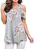 ANDUUNI Womens Floral Print Cold Shoulder Swing Tunic Tops Casual Loose Short Sleeve Blouse Shirts