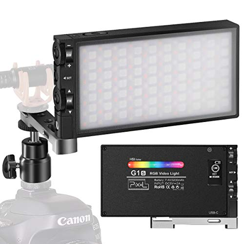 Pixel G1S RGB LED ビデオライト 撮影用ライト 撮影照明ライト2500K-8500K CRI 97+ 360°フルカラー USB-C充...