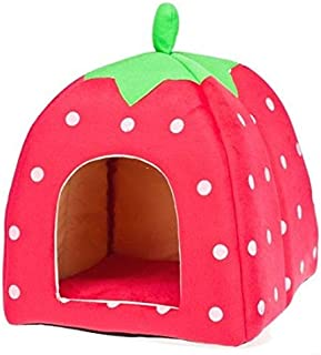 Soft Strawberry Pet Dog Cat Bed House[H10332 size:S Red ]