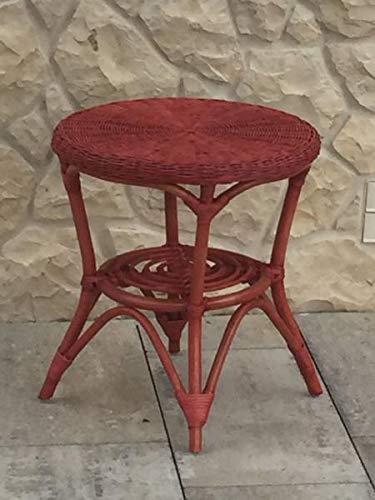 Rattan im Trend - Tavolino rotondo in rattan, colore: Rosso