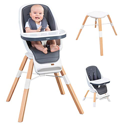 RONBEI Baby High Chair, 6-in-1 High Chair,Baby Wooden High Chair with Removable Tray,High Chair for Infants to Toddler, Adjustable Feeding Chairs for Babies/Infants/Toddlers