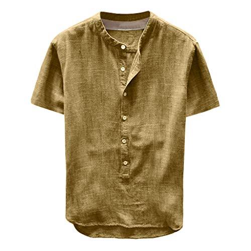 Celucke Leinenhemd Herren Kurzarm Henley Shirt Männer Einfarbig Freizeithemd Übergröße Sommer Casual Hemden Leichte Atmungsaktives Bequem Leinen Sommerhemden Loose Fit (Gelb, XXL)