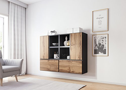 Furniture24_eu Kommode Highboard Hängeschrank ROCO-18 (Anthrazite Matt/Wotan Eiche)