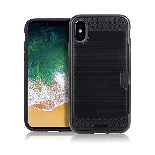 H-HX telefoonhoes beschermhoes, telefoonhoesje, ultradunne TPU + PC geborsteld textuur stootvaste beschermhoes met kaartsleuf voor iPhone X/XS (zwart), zwart