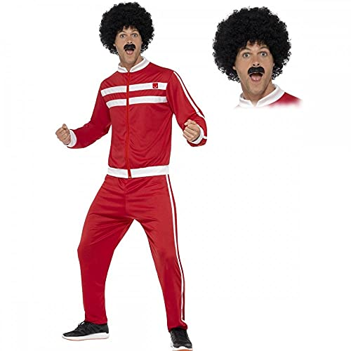 Scouser Tracksuit + Wig + Tash Mens Fancy Dress Sports 1980s Adults 80s Costume (XL 46 -48' Chest)