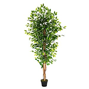 """Silk Flower Arrangements VINGLI 6Ft Fake Ficus Tree, Artificial Greenery Plants,72"""" Decorative UV Resistant Trees, for Home & Office Living Room ,"""