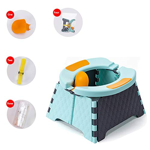 Honboom Portable Potty Training Seat for Toddler | Kids Travel Potty | Foldable Toilet Seat | Baby Potty Seat for Indoor and Outdoor (Blue)