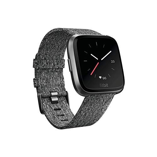 Fitbit Versa Special Edition Smart Watch, Charcoal Woven, One Size (S & L Bands Included) (Renewed)