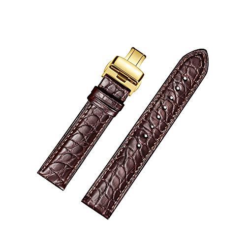 jiexima Correa de Reloj de Cuero de cocodrilo Redondo Correas de Reloj de reemplazo con Hebilla desplegable de Oro (21 mm, marrón)