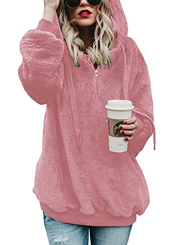 iWoo Mujeres Jumpers Sudadera con capucha de manga larga con cremallera bolsillo polar con capucha suelta más tamaño pullover(rosa, S)