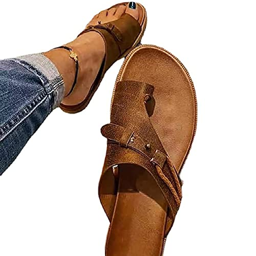 LKHYL Summer Orthopedic Sandals for Women 2021, Leather Ring Casual Bunion Correction Bone Slippers Plus Protection, Toe Separate Flat Shoes Flip Flops with Arch Support (Brown,9)