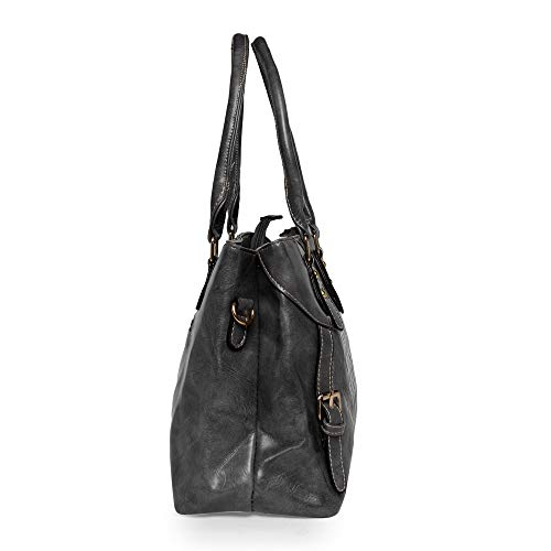 Louise Belgium Women's PU leather Designer Hand Bag/Shoulder Bag (Black)