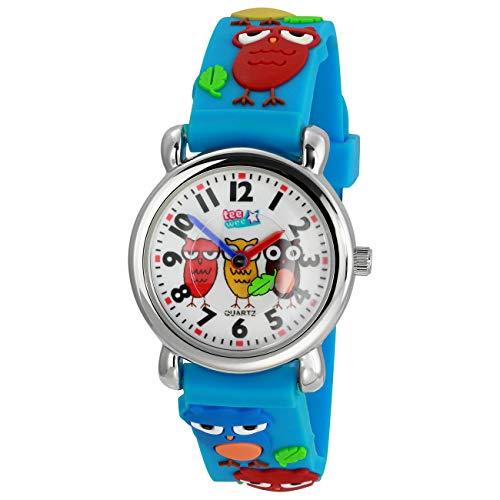 Tee-Wee Uhr für Kinder Eulen Kautschuk Armband hellblau Analoguhr UW308H EIN Angebot von ELFE